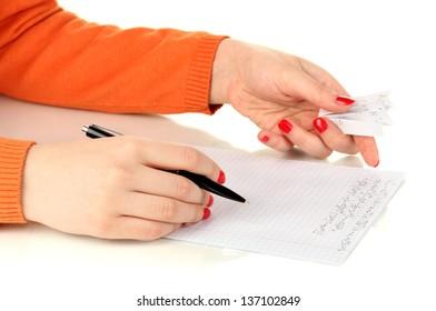 Write off exam isolated on white