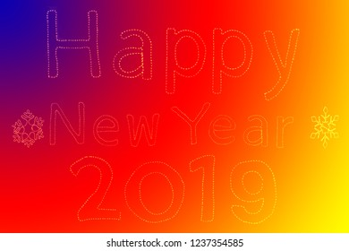 Write sentences with an animated Sparkler light alphabet  on colorful background. Happy New Year 2019