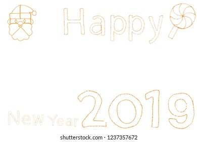 Write sentences with an animated Sparkler light alphabet  on white background. Happy New Year 2019