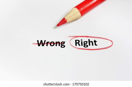 Write text crossed out with Right circled in red pencil