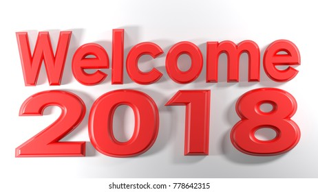 The write Welcome 2018, written with red 3D letters on a white surface - 3D rendering