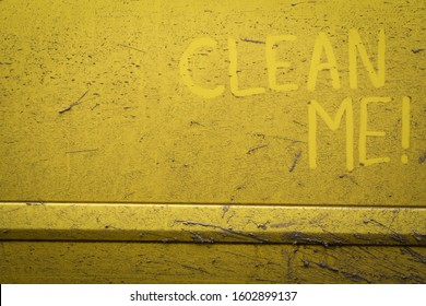 Write, words, inscription, text, clean, me, very, dirty, surface, car., Concept, car, wash.