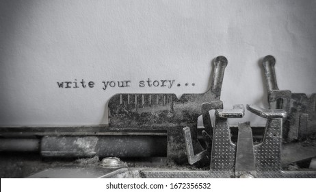 write you story text typed on blank sheet with an old typewriter in vintage background