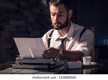writer, detective, businessman, typewriter, man