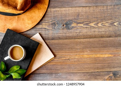 writier tools in profession concept on wooden background top vie