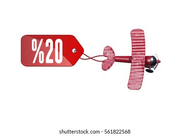 writing 20 % red toy airplane with  Red price labels on white background. 10% sale price tag sign icon. Red leather price labels ten percent sale off.