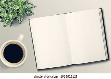 Writing in a blank notebook. Mug of coffee on the table.