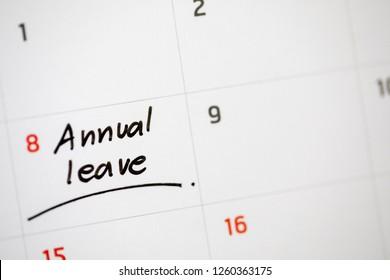 writing calendar annual leave