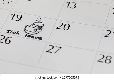 writing calendar sick leave