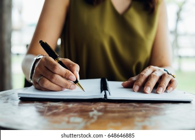 writing check planning checklist report concept