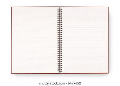 Writing or exercise book with lined blank white pages isolated on a white background.  Space for copy.