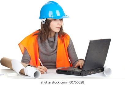 writing female architect or engineer with laptop and blueprint, series