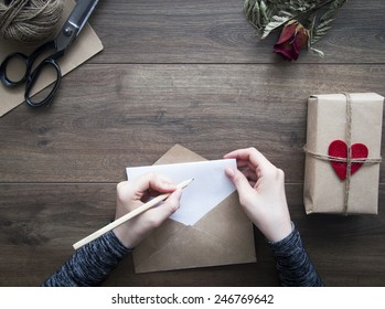 Writing love letter for valentine's day