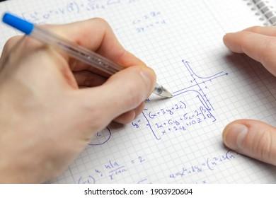 Mathematikübung schreiben, Nahaufnahme