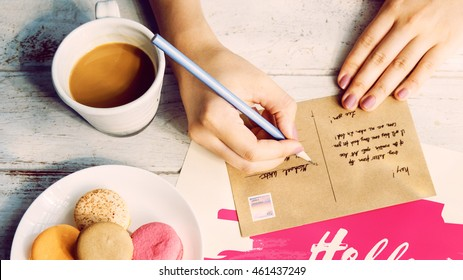 Writing Message Postcard Coffee Concept