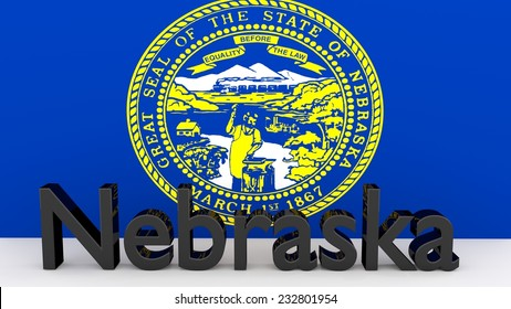 Writing with the name of the US state Nebraska made of dark metal  in front of state flag