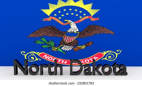 Writing with the name of the US state North Dakota made of dark metal  in front of state flag