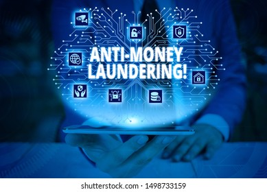 Writing note showing Anti Money Laundering. Business photo showcasing regulations stop generating income through illegal actions Male wear formal work suit presenting presentation smart device.