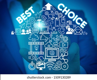 Writing note showing Best Choice. Business photo showcasing act of picking or deciding between two or more possibilities Male wear formal work suit presenting presentation smart device.