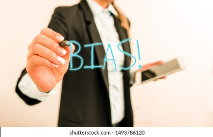 Writing note showing Bias. Business photo showcasing inclination or prejudice for or against one demonstrating group Digital business in black suite concept with business woman.
