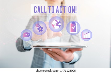 Writing note showing Call To Action. Business photo showcasing exhortation do something in order achieve aim with problem.