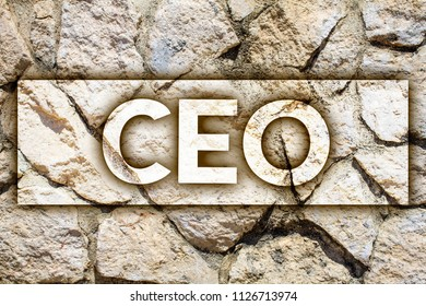 Writing note showing  Ceo. Business photo showcasing Chief Executive Officer Head Boss Chairperson Chairman Controller Ideas message stone stones rock rocks backgrounds wild natural pebbles.