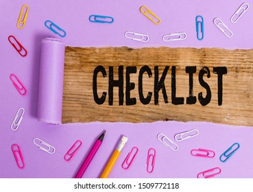 Writing note showing Checklist. Business photo showcasing List down of the detailed activity as guide of doing something.