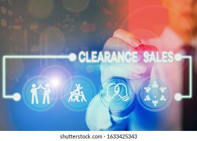 Writing note showing Clearance Sales. Business photo showcasing goods at reduced prices to get rid of superfluous stock.