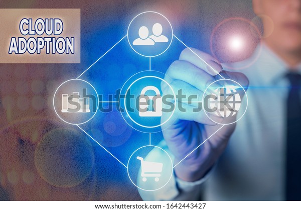 Writing note showing Cloud Adoption. Business photo showcasing strategic move by organisations of reducing cost and risk.