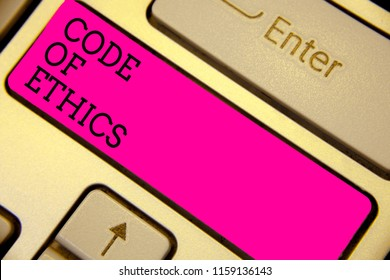 Writing note showing Code Of Ethics. Business photo showcasing Moral Rules Ethical Integrity Honesty Good procedure Keyboard pink key Intention computer computing reflection document.