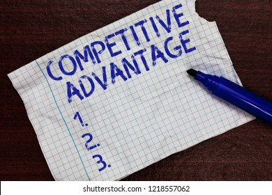 Writing note showing Competitive Advantage. Business photo showcasing Company Edge over another Favorable Business Position Squared notebook paper Markers Communicating ideas Expressing feelings.