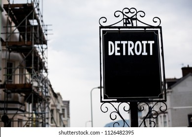 Writing note showing  Detroit. Business photo showcasing City in the United States of America Capital of Michigan Motown Vintage black board sky old city ideas scaffolding landscapes antique.