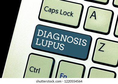 Writing note showing Diagnosis Lupus. Business photo showcasing Urine examination show an increase of protein level