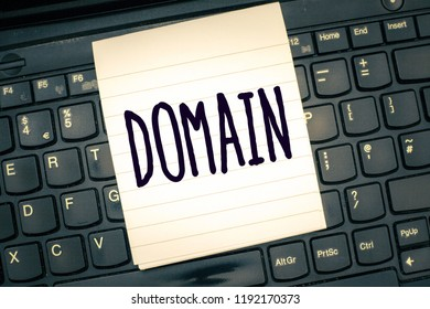 Writing note showing Domain. Business photo showcasing distinct subset of Internet with addresses sharing common suffix