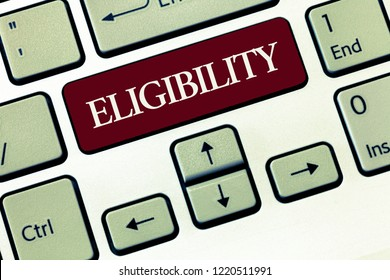 Writing note showing Eligibility. Business photo showcasing State of having the right for doing or obtain something Proper