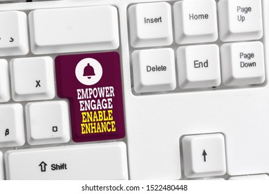 Writing note showing Empower Engage Enable Enhance. Business photo showcasing Empowerment Leadership Motivation Engagement White pc keyboard with note paper above the white background.