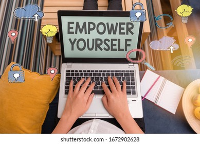 Writing note showing Empower Yourself. Business photo showcasing taking control of our life setting goals and making choices.