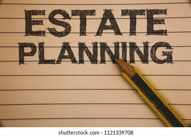 Writing note showing  Estate Planning. Business photo showcasing Insurance Investment Retirement Plan Mortgage Properties Ideas concepts on old beige notebook paper pen resting black letters.