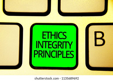 Writing note showing Ethics Integrity Principles. Business photo showcasing quality of being honest and having strong moral Keyboard green key Intention computer computing reflection document.