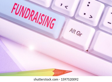 Writing note showing Fundraising. Business photo showcasing act of collecting or producing money for a particular purpose.