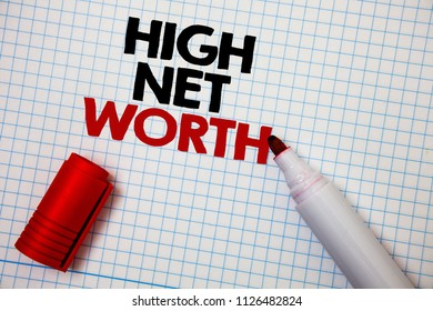 Writing note showing  High Net Worth. Business photo showcasing having high-value Something expensive A-class company Graph paper grey important thoughts idea information science math data.