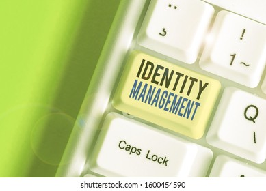 Writing note showing Identity Management. Business photo showcasing administration of individual identities within a system.