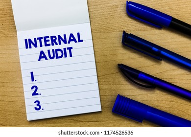 Writing note showing Internal Audit. Business photo showcasing Evaluates the effectiveness of the controls and processes