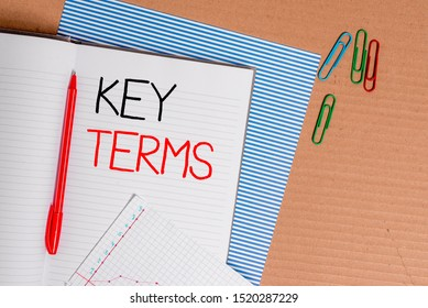 Writing note showing Key Terms. Business photo showcasing Words that can help a demonstrating in searching information they need Striped paperboard notebook cardboard office study supplies chart paper