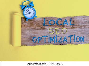 Writing note showing Local Seo Optimization. Business photo showcasing increase Search Visibility to Rank on Top list.