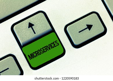 Writing note showing Microservices. Business photo showcasing Software development technique Building single function module