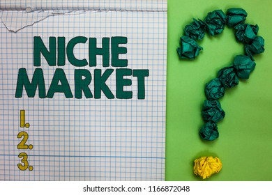Writing note showing Niche Market. Business photo showcasing Subset of the market on which specific product is focused Square notebook crumpled papers forming question mark green background.