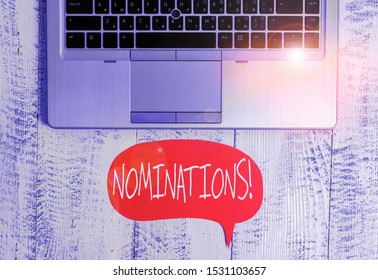 Writing note showing Nominations. Business photo showcasing action of nominating or state being nominated for prize Close view open laptop speech bubble downwards lying vintage table.