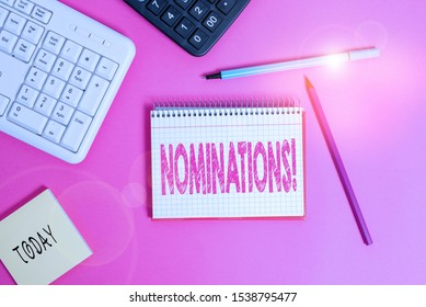 Writing note showing Nominations. Business photo showcasing action of nominating or state being nominated for prize Writing equipments and computer stuff placed on wooden table.