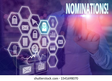 Writing note showing Nominations. Business photo showcasing action of nominating or state being nominated for prize Picture photo network scheme with modern smart device.